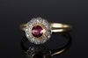 VINTAGE 18K GOLD DIAMOND AND GARNET RING