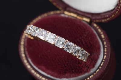 3.2CTW ASSCHER CUT ETERNITY 18K GOLD - SinCityFinds Jewelry