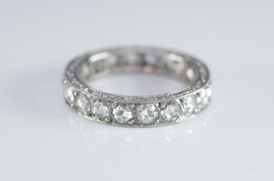 ROSE CUT DIAMOND ETERNITY BAND IN PLATINUM