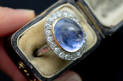VINTAGE CABOCHON LIGH BLUE LAVENDER SAPPHIRE RING WITH DIAMOND HALO - SinCityFinds Jewelry