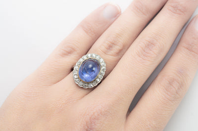VINTAGE CABOCHON LIGH BLUE LAVENDER SAPPHIRE RING WITH DIAMOND HALO