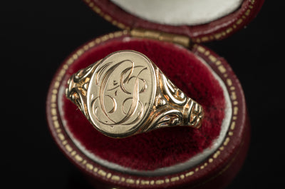 "VINTAGE  YELLOW GOLD SIGNET RING ""CJ"""