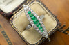 EMERALD AND OLD EUROPEAN CUT DIAMOND NAVETTE - SinCityFinds Jewelry
