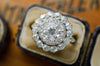 3CTW EDWARDIAN DOUBLE HALO OLD EUROPEAN CUT DIAMOND RING