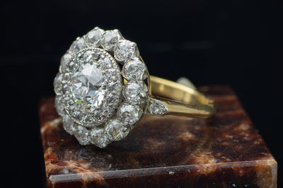 3CTW EDWARDIAN DOUBLE HALO OLD EUROPEAN CUT DIAMOND RING - SinCityFinds Jewelry