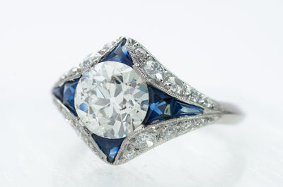 DECO INSPIRED SAPPHIRE RING WITH 1.59CT GIA K VVS2 OEC CENTER