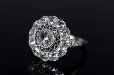 ROSE CUT DIAMOND HALO RING IN PLATINUM - SinCityFinds Jewelry