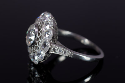 ROSE CUT DIAMOND HALO RING IN PLATINUM