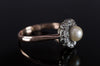ANTIQUE PEARL AND MINE CUT DIAMOND HALO RING - SinCityFinds Jewelry