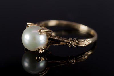 VINTAGE PEARL SOLITAIRE IN 14K GOLD