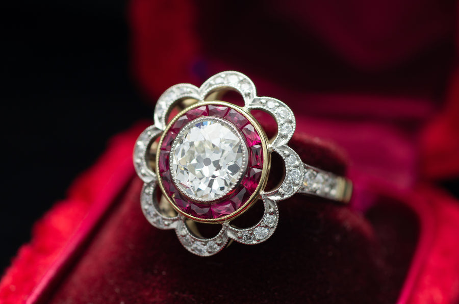 1.95CTW BELLE EPOQUE INSPIRED OLD CUT DIAMOND AND RUBY RING