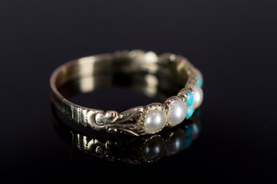 ANTIQUE SPLIT PEARL AND TURQUOISE HALF HOOP BAND - SinCityFinds Jewelry