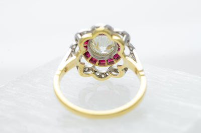 1.95CTW BELLE EPOQUE INSPIRED OLD CUT DIAMOND AND RUBY RING - SinCityFinds Jewelry