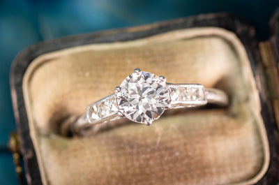 0.93CTW OLD EUROPEAN AND FRENCH CUT DIAMOND RING - SinCityFinds Jewelry