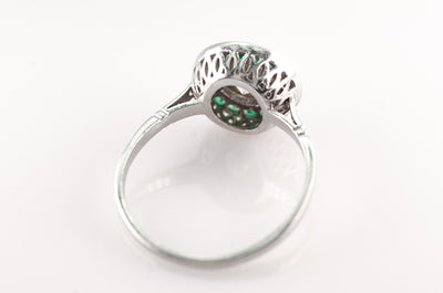 1.05CT CENTER DIAMOND AND EMERALD ART DECO STYLE RING