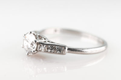 0.93CTW OLD EUROPEAN AND FRENCH CUT DIAMOND RING