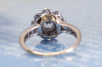 EDWARDIAN OLD EUROPEAN CUT DIAMOND DAISY RING