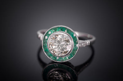 1.05CT CENTER DIAMOND AND EMERALD ART DECO STYLE RING - SinCityFinds Jewelry