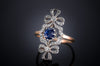 ANTIQUE SAPPHIRE AND DIAMOND DOUBLE BOW RING - SinCityFinds Jewelry