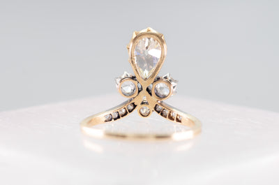 ON HOLD      1.49CTW ANTIQUE TIARA STYLE DIAMOND RING