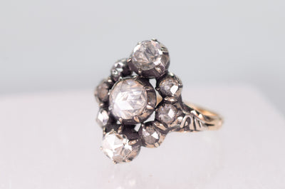 VERTICAL THREE STONE ROSE CUT DIAMOND RING - SinCityFinds Jewelry