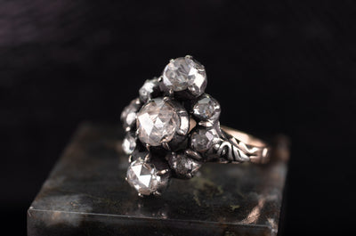 VERTICAL THREE STONE ROSE CUT DIAMOND RING