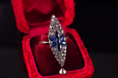 SAPPHIRE AND ROSE CUT DIAMOND NAVETTE RING - SinCityFinds Jewelry