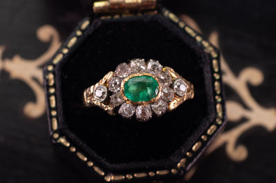 EMERALD AND OLD MINE CUT HALO RING - SinCityFinds Jewelry