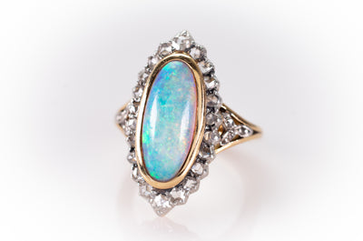 OPAL AND ROSE CUT HALO RING - SinCityFinds Jewelry