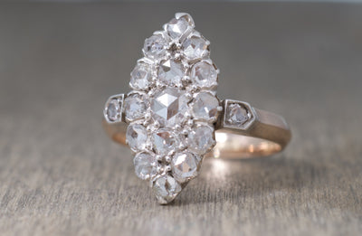 ANTIQUE ROSE CUT DIAMOND NAVETTE SYLE RING - SinCityFinds Jewelry