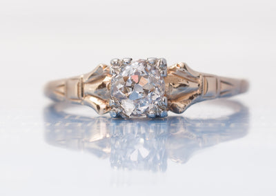OLD MINE CUT DIAMOND SOLITAIRE ENGAGEMENT RING - SinCityFinds Jewelry