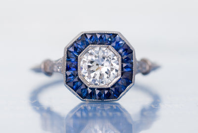 FRENCH CUT SAPPHIRE AND TRANSITIONAL DIAMOND TARGET RING
