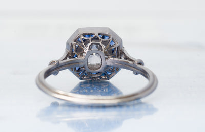 FRENCH CUT SAPPHIRE AND TRANSITIONAL DIAMOND TARGET RING - SinCityFinds Jewelry