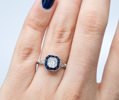 CABOCHON CUT SAPPHIRE AND OLD MINE CUT DIAMOND TARGET RING - SinCityFinds Jewelry