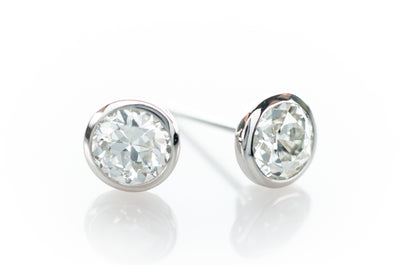 1.14CTW OLD EUROPEAN CUT DIAMOND STUD EARRINGS IN PLATINUM - SinCityFinds Jewelry