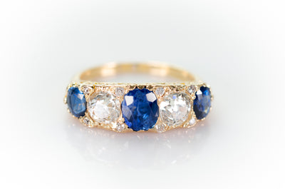 3.58CTW NATURAL SAPPHIRE AND OLD EUROPEAN CUT DIAMOND HALF HOOP FIVE STONE RING - SinCityFinds Jewelry
