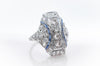 1.64CTW OLD EUROPEAN CUT DIAMOND AND SAPPHIRE DINNER RING - SinCityFinds Jewelry
