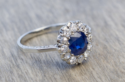 EDWARDIAN SAPPHIRE AND DIAMOND ENGAGEMENT RING - SinCityFinds Jewelry