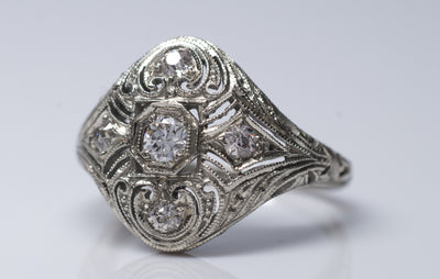 EDWARDIAN FILIGREE 5 STONE DIAMOND RING IN WHITE GOLD - SinCityFinds Jewelry
