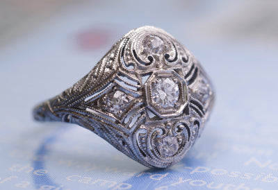 EDWARDIAN FILIGREE 5 STONE DIAMOND RING IN WHITE GOLD