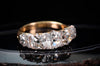 FIVE DIAMOND RING OLD MINER CUT PERUZZI CUT HALF HOOP BAND ANTIQUE