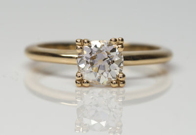 OLD MINE CUT SOLITAIRE ENGAGEMENT RING - SinCityFinds Jewelry
