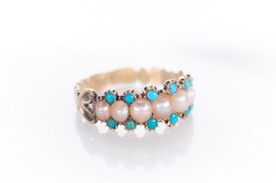 ANTIQUE SPLIT PEARL AND TURQUOISE RING