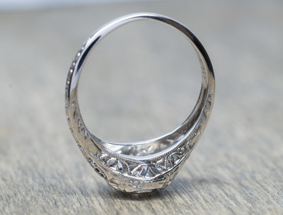 VINTAGE FILIGREE WHITE GOLD DIAMOND RING WITH OLD EUROPEAN CUT DIAMOND - SinCityFinds Jewelry