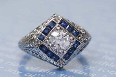ART DECO SAPPHIRE AND OLD EUROPEAN CUT DIAMOND RING - SinCityFinds Jewelry