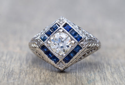 ART DECO SAPPHIRE AND OLD EUROPEAN CUT DIAMOND RING