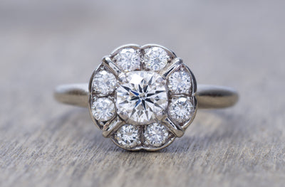 VINTAGE DIAMOND CLUSTER DAISY STYLE RING IN WHITE GOLD - SinCityFinds Jewelry