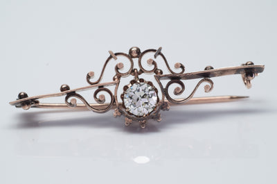 VICTORIAN GOLD BROOCH WITH CENTER OLD EUROPEAN CUT - SinCityFinds Jewelry