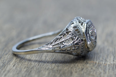 EDWARDIAN OLD EUROPEAN CUT FILIGREE RING - SinCityFinds Jewelry
