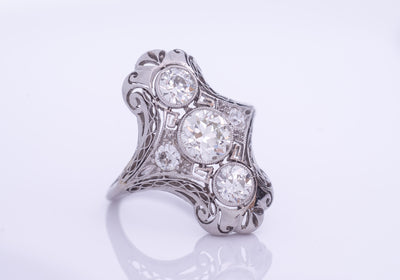 Edwardian Diamond and Platinum engagement / dinner / cocktail ring 1.80ctw - SinCityFinds Jewelry
